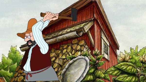 Pettersson kümmert sich um seinen Hof und hackt Holz. | Rechte: ZDF