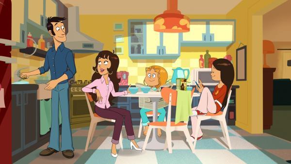 Beim Frühstück besprechen die Eltern von Wendy und Marine, was sie laut Horoskop heute erwartet. | Rechte: NDR/Bamboo Production/Samka Productions