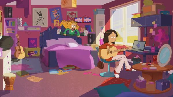 Marine versucht lautstark, Wendys Aufmerksamkeit von der Musik abzuziehen. | Rechte: NDR/Bamboo Production/Samka Productions