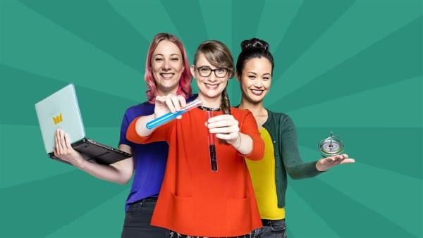 Informatikerin Johanna, Biochemikerin Patrizia und Physikerin Linh vor grünem Hintergrund | Rechte: ZDF/Martin Vogel