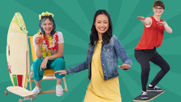 Johanna (li.) und Parizia (re.) sitzen mit Cocktail im Sonnenstuhl und Linh (Mitte) steht auf einem Mini Surfbrett | Rechte: Bojan Ritan