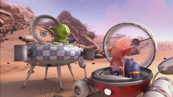 Mit ihren Raumschiffen gehen Pootle (l.) und Oopsy (r.) beim Weltraumrennen an den Start. | Rechte: KiKA/Snapper Productions/Q Pootle 5 LTD
