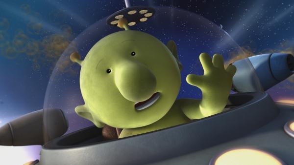 Pootle in seinem Raumschiff beim Weltraumwettrennen | Rechte: KiKA/Snapper Productions/Q Pootle 5 LTD