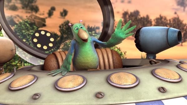 Pootle bringt den Vogel Krächz von einer Weltraumreise mit. | Rechte: KiKA/Snapper Productions/Q Pootle 5 LTD