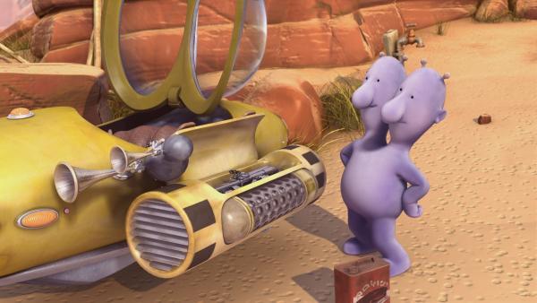 Eddi hat einen Ölwechsel an seinem Raumschiff durchgeführt. | Rechte: KiKA/Snapper Productions/Q Pootle 5 LTD