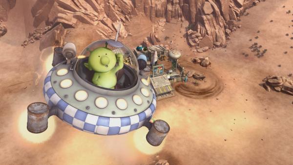 Pootle hat doch noch das perfekte Raumschiff für sich gefunden.   Rechte: KiKA/Snapper Productions/Q Pootle 5 LTD