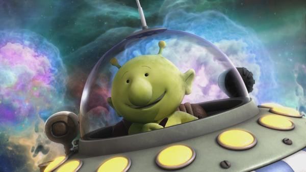 Pootle fliegt mit seinem Raumschiff durch das kosmische Flirreln. | Rechte: KiKA/Snapper Productions/Q Pootle 5 LTD