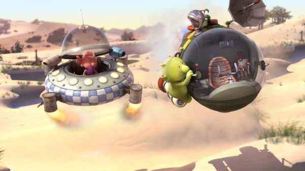 Mit einem waghalsigen Manöver gelingt es Pootle, in luftiger Höhe von seinem eigenen Raumschiff in Groobies Raumschiff zu klettern. | Rechte: KiKA/Snapper Productions/Q Pootle 5 LTD