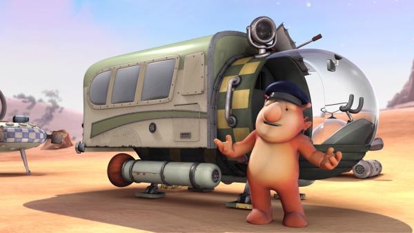 Groobie hat sein Raumschiff zu einem fliegenden Reisebus umgebaut. | Rechte: KiKA/Snapper Productions/Q Pootle 5 LTD