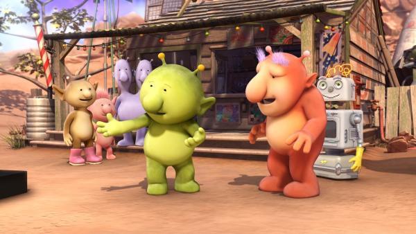 Groobie und Bud-D sind wieder zu Hause. Tatsächlich weiß Groobie, wofür das Ding eigentlich gut ist und will es den Freunden zeigen. | Rechte: KiKA/Snapper Productions/Q Pootle 5 LTD