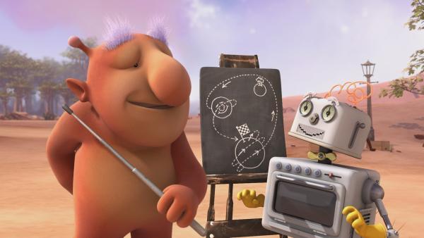 Groobie und Bud-D besprechen den Streckenverlauf für das Weltraumwettrennen. | Rechte: KiKA/Snapper Productions/Q Pootle 5 LTD