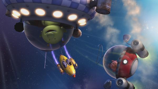 Pootle, Eddi und Oopsy fliegen in ihren Raumschiffen durch das Weltall. | Rechte: KiKA/Snapper Productions/Q Pootle 5 LTD