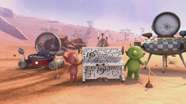 Oopsy (l.) und Pootle (r.) versuchen alles, um ihrem Freund Groobie zu helfen. | Rechte: KiKA/Snapper Productions/Q Pootle 5 LTD