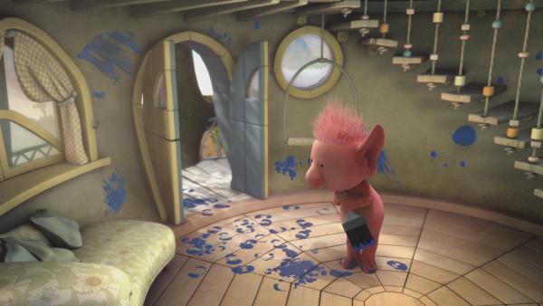 Oopsy bereiten die Renovierungsarbeiten an Stellas Haus große Probleme.   Rechte: KiKA/Snapper Productions/Q Pootle 5 LTD