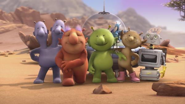 Eddi, Groobie, Pootle, Krah, Stella und Bud-D posieren für ein Gruppenfoto. | Rechte: KiKA/Snapper Productions/Q Pootle 5 LTD