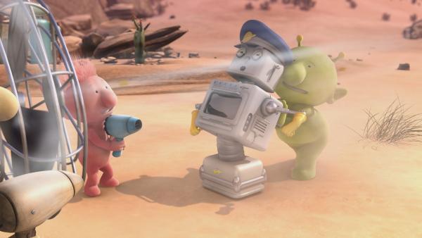 Oopsy (l.) und Pootle (r.) wollen Bud-D (m.) trocken fönen. | Rechte: KiKA/Snapper Productions/Q Pootle 5 LTD