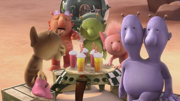 Stella, Groobie, Pootle, Oopsy und Eddy (v.l.n.r.) machen sich Sorgen um Bud-D. | Rechte: KiKA/Snapper Productions/Q Pootle 5 LTD