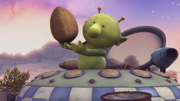 Pootle hat es geschafft, eine der heiß begehrten Astronüsse aufzutreiben. | Rechte: KiKA/Snapper Productions/Q Pootle 5 LTD