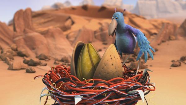 Krah hat die geknackte Astronuss in seinem Nest. | Rechte: KiKA/Snapper Productions/Q Pootle 5 LTD