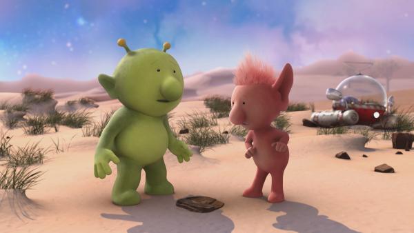 Pootle (l.) und Oopsy sind enttäuscht: Ihre Astronuss ist verschwunden. | Rechte: KiKA/Snapper Productions/Q Pootle 5 LTD