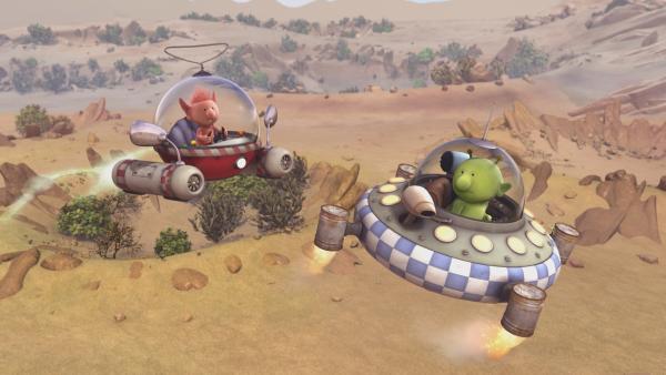Oopsy (l.) und Pootle (r.) begeben sich in ihren Raumschiffen auf die Suche. | Rechte: KiKA/Snapper Productions/Q Pootle 5 LTD