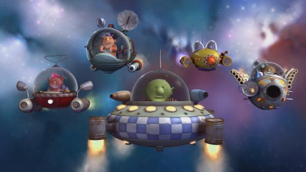 Oopsy, Groobie, Pootle, Eddi, Krah und Stella (v.l.n.r.) fliegen in ihrem Raumschiffen in Formation durch das Weltall. | Rechte: KiKA/Snapper Productions/Q Pootle 5 LTD