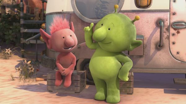 Pootle (r.) und Oopsy (l.) hecken einen Plan aus, wie Groobie seine Flugangst überwinden kann. | Rechte: KiKA/Snapper Productions/Q Pootle 5 LTD