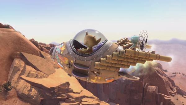 Stella ist mit ihrem Raumschiff unterwegs, um Stinkegrütze für ihre Pflanzen zu besorgen. | Rechte: KiKA/Snapper Productions/Q Pootle 5 LTD