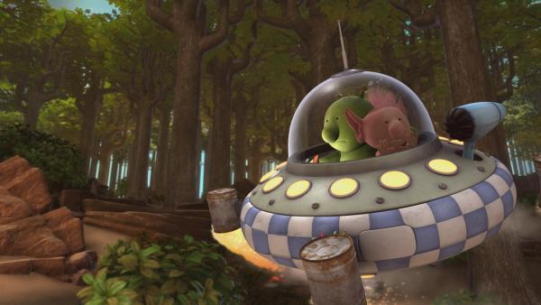 Pootle und Oopsy sind in großer Sorge um den verschwundenen Krah. Mit dem Raumschiff machen sie sich auf die Suche nach ihm. | Rechte: KiKA/Snapper Productions/Q Pootle 5 LTD
