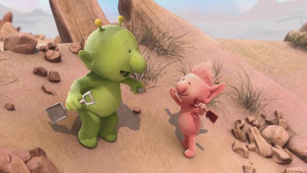 Zusammen mit Oopsy (r.) macht sich Pootle (l.) auf die Suche nach dem Schatz. | Rechte: KiKA/Snapper Productions/Q Pootle 5 LTD