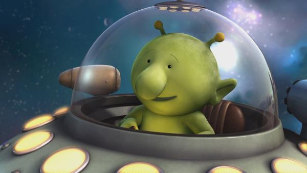 Pootle hat eine Idee, wie sie Okidoki vor dem drohenden Asteroideneinschlag bewahren können - dazu braucht er auch sein Raumschiff. | Rechte: KiKA/Snapper Productions/Q Pootle 5 LTD