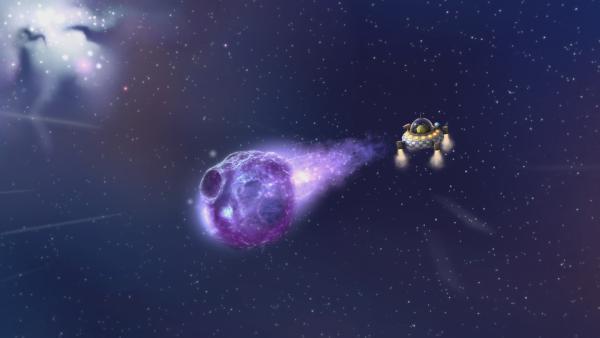 Pootle nimmt den Asteroiden von seinem Raumschiff aus genauer unter die Lupe. | Rechte: KiKA/Snapper Productions/Q Pootle 5 LTD