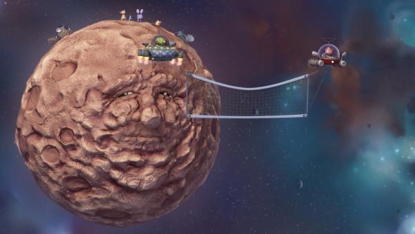 Pootle und seine Freunde versuchen, den Asteroiden mit einem Netz einzufangen. | Rechte: KiKA/Snapper Productions/Q Pootle 5 LTD