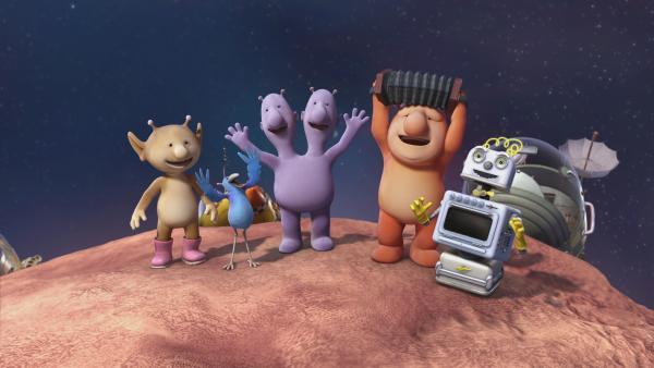 Die Freunde sind erleichtert, dass der Asteroid keinen Schaden auf Okidoki angerichtet hat. | Rechte: KiKA/Snapper Productions/Q Pootle 5 LTD