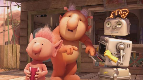 Auf Okidoki ist es plötzlich wahnsinnig heiß. Oopsy, Groobie und Bud-D fragen sich, was wohl die Ursache für die Affenhitze ist. | Rechte: KiKA/Snapper Productions/Q Pootle 5 LTD
