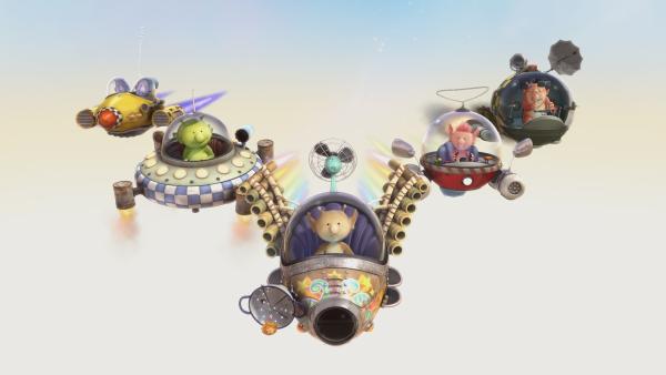Mit ihren Raumschiffen trainieren die Freunde für eine große Flugshow. | Rechte: KiKA/Snapper Productions/Q Pootle 5 LTD