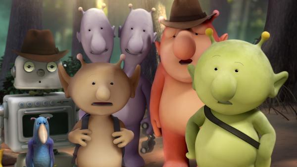 Die Freunde sind verblüfft über Oopsys Entdeckung. | Rechte: KiKA/Snapper Productions/Q Pootle 5 LTD