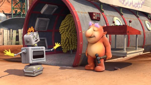 Groobies hat zusammen mit Bud-Ds Hilfe eine neue Raumschiffwaschanlage eröffnet. | Rechte: KiKA/Snapper Productions/Q Pootle 5 LTD