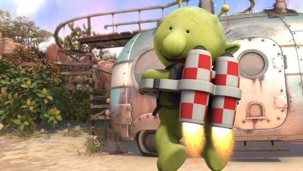 Pootle fliegt mit seinem Raketenrucksack. | Rechte: KiKA/Snapper Productions/Q Pootle 5 LTD