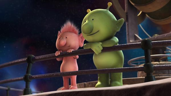 Oopsy und Pootle freuen sich schon darauf, wieder zurück nach Hause zu fliegen. | Rechte: KiKA/Snapper Productions/Q Pootle 5 LTD