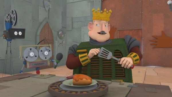 König Bleifuß als Testesser beim großen Kochduell | Rechte: ZDF/Caligari
