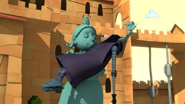 Wie ist der Ehrliche Enzo auf der Statue von Prinzessin Magnesia gelandet? | Rechte: ZDF/Caligari