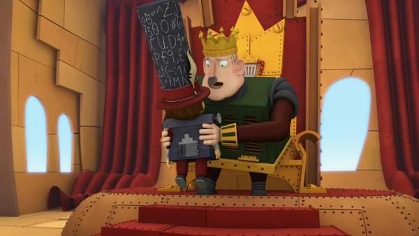 Ratzefummel muss feststellen, dass König Bleifuß keine Rede an sein Volk halten kann. | Rechte: ZDF/Caligari
