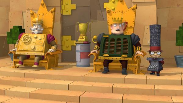 König Bleifuß (re.) und König Goldberg veranstalten regelmäßig ein Turnier, in dem ihre besten Ritter um einen Pokal kämpfen müssen. | Rechte: ZDF/Caligari