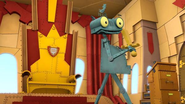 Rösti macht sich heimlich am Gesetzbuch des Königs zu schaffen. | Rechte: ZDF/Caligari