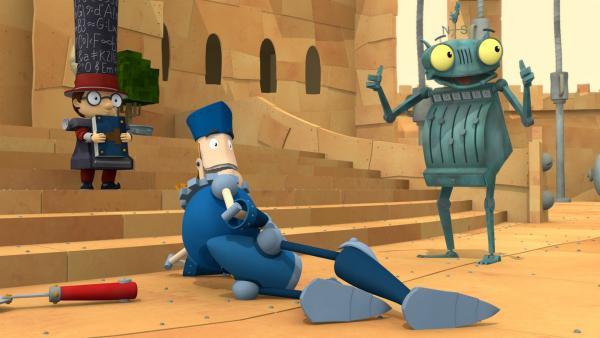 Prinz Protz hat es voll von den Füßen gerissen. Ob Ritter Rost und Ratzefummel wohl etwas damit zu tun haben? | Rechte: ZDF/Caligari