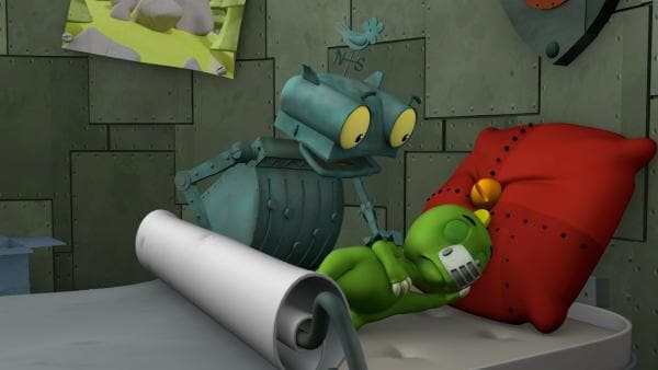 Koks ist eingeschlafen. So kann ihn Ritter Rost nicht mehr fragen, mit welchem Trick er denn seine Ritterprüfung bestehen kann. | Rechte: ZDF/Caligari