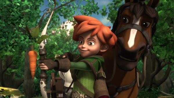 Mit einem Leckerbissen für das Zugpferd wird Robin Hood Prinz Johns Steuereintreiber schnell los. | Rechte: ZDF/Method Animation/DQ Entertainment/Fabrique d'images/ZDF Enterprises/De Agostini