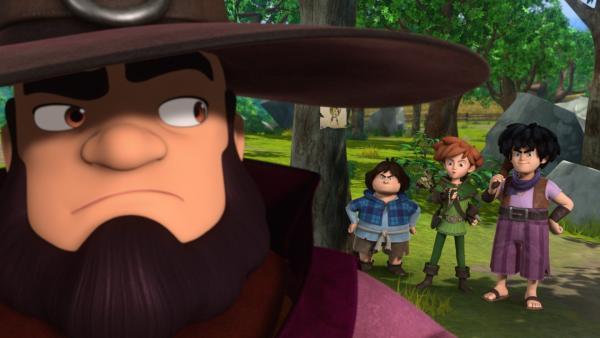 Tuck, Robin Hood und Little John haben den Zauberer in seinem Versteck mit den gestohlenen Sachen erwischt und stellen ihn zur Rede. | Rechte: ZDF/Method Animation/DQ Entertainment/Fabrique d'images/ZDF Enterprises/De Agostini