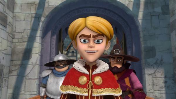 Prinz John hat einen Plan. Der Sheriff (li.) und der Zauberer (re.) helfen ihm dabei.   Rechte: ZDF/Method Animation/DQ Entertainment/Fabrique d'images/ZDF Enterprises/De Agostini